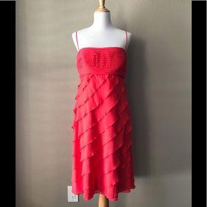 NWT Tadashi Coral Silk Tiered Dress